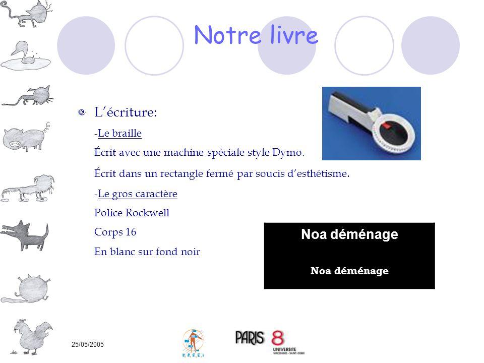 25/05/2005 Lécriture: -Le braille Écrit avec une machine spéciale style Dymo. Écrit dans un rectangle fermé par soucis desthétisme. -Le gros caractère