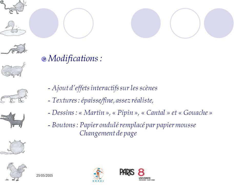 25/05/2005 Modifications : - Ajout deffets interactifs sur les scènes - Textures : épaisse/fine, assez réaliste, - Dessins : « Martin », « Pipin », «