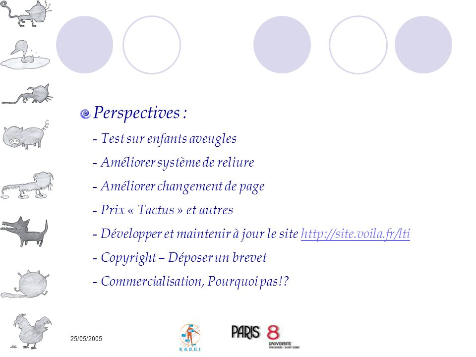 25/05/2005 Perspectives : - Test sur enfants aveugles - Améliorer système de reliure - Améliorer changement de page - Prix « Tactus » et autres - Déve