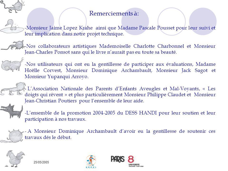 25/05/2005 Remerciements à: -Monsieur Jaime Lopez Krahe ainsi que Madame Pascale Pousset pour leur suivi et leur implication dans notre projet techniq
