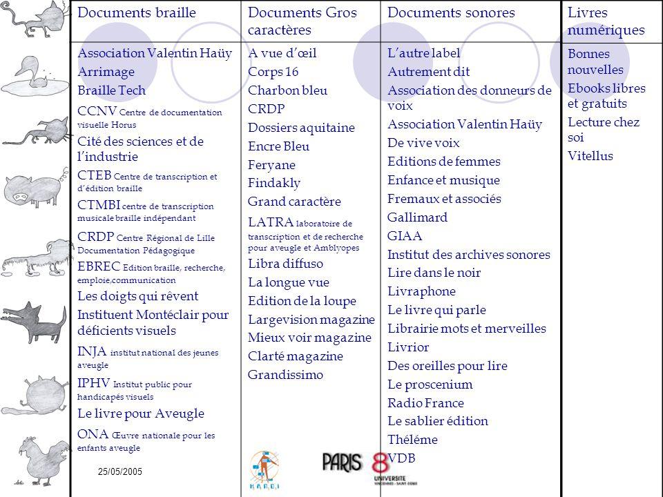 25/05/2005 Documents brailleDocuments Gros caractères Documents sonores Association Valentin Haüy Arrimage Braille Tech CCNV Centre de documentation v