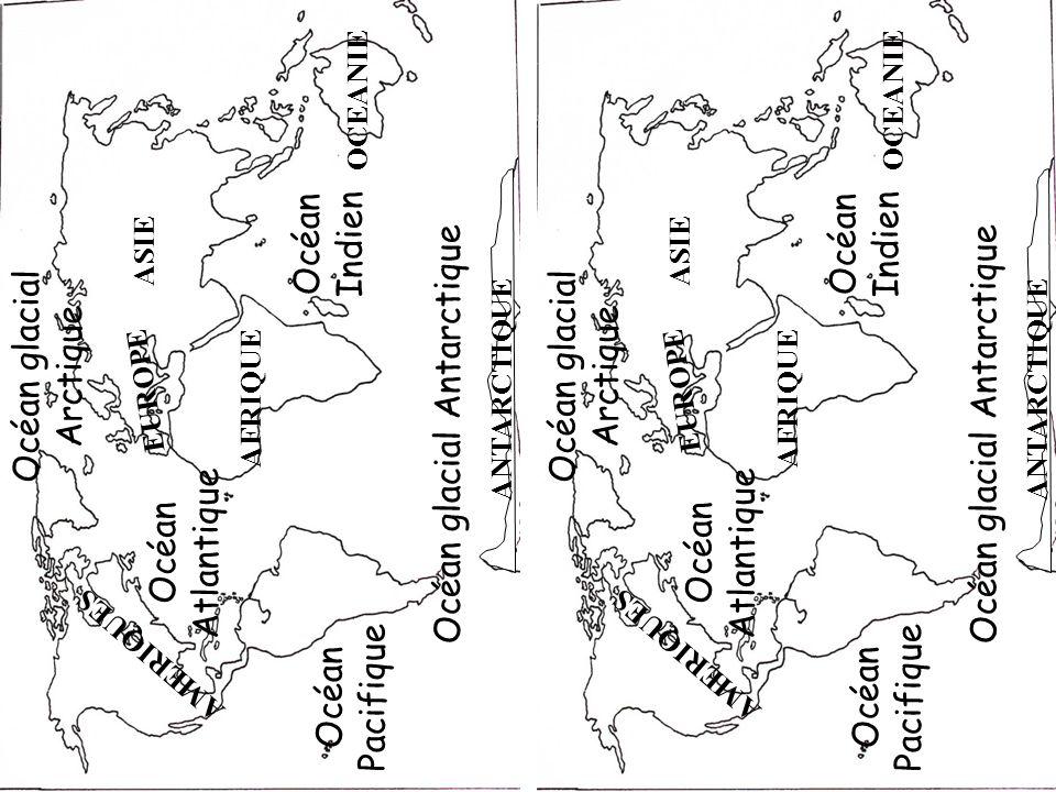Il y a 5 Océans c: locéan Atlantique a: locéan Pacifique d: locéan glacial Antarctique b: locéan glacial Arctique e: locéan Indien Océanie Europe Antarctique Amérique locéan glacial arctique locéan Atlantique Il y a 6 continents: lAfrique, au climat le plus chaud; LAsie, le plus grand des continents; LEurope, le plus petit des continents; LAmérique, en 3 parties Nord, centrale et Sud; LOcéanie constitué de nombreuse îles dont laustralie.
