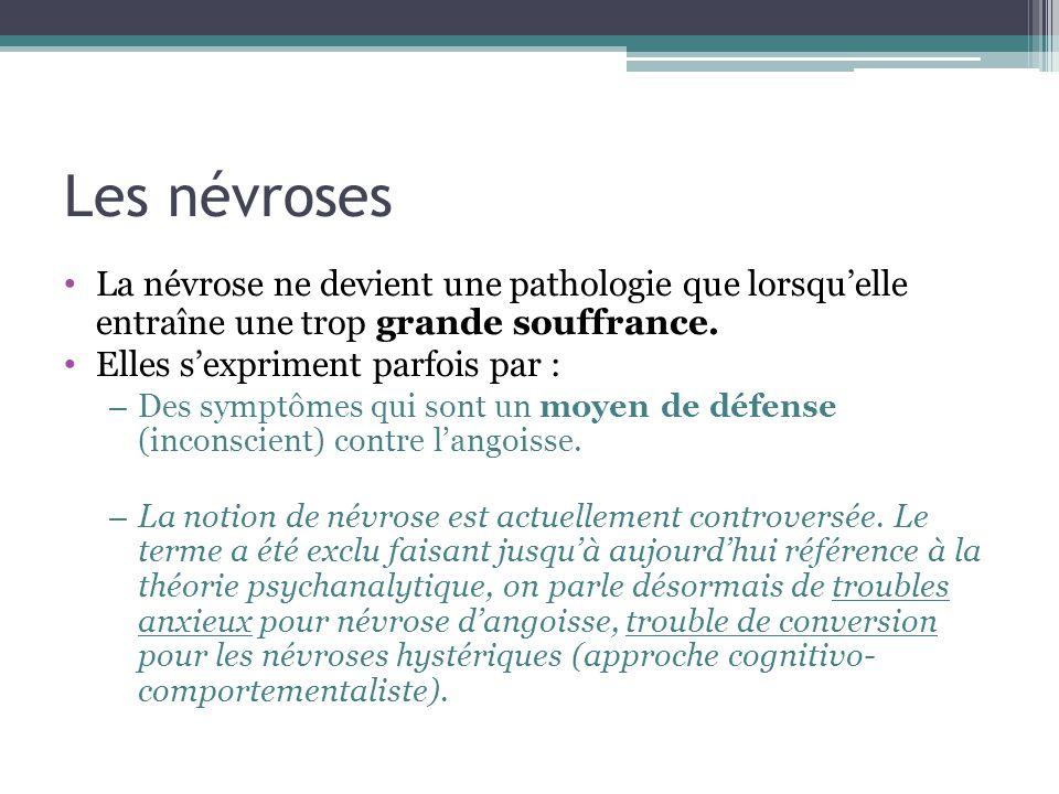 Les névroses La névrose ne devient une pathologie que lorsquelle entraîne une trop grande souffrance. Elles sexpriment parfois par : – Des symptômes q