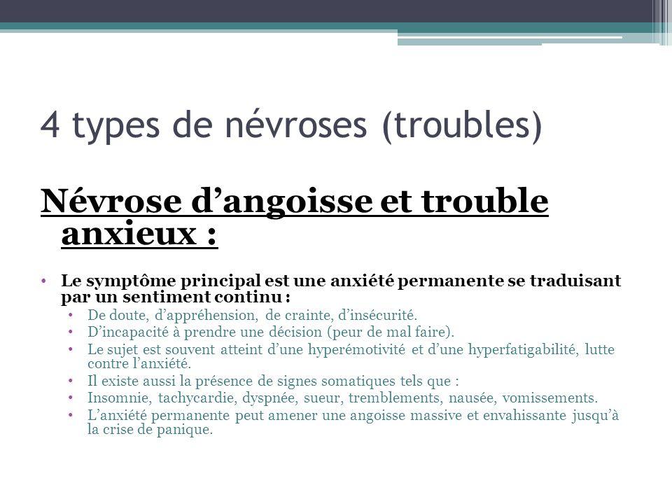 4 types de névroses (troubles) Névrose dangoisse et trouble anxieux : Le symptôme principal est une anxiété permanente se traduisant par un sentiment