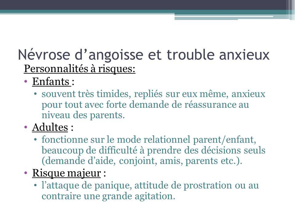 Névrose dangoisse et trouble anxieux Personnalités à risques: Enfants : souvent très timides, repliés sur eux même, anxieux pour tout avec forte deman
