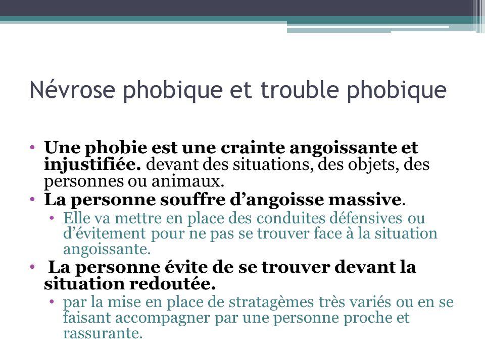 Névrose phobique et trouble phobique Personnes à risques : Souvent de grands timides, dune grande émotivité, peu de contacts sociaux, méfiants.