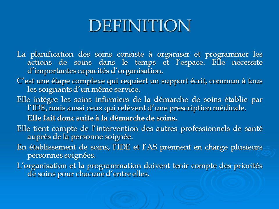 DEFINITION La planification des soins consiste à organiser et programmer les actions de soins dans le temps et lespace.