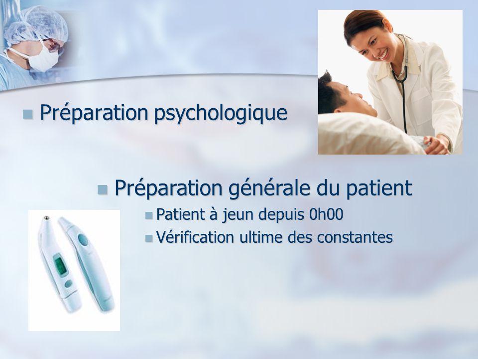 Préparation psychologique Préparation psychologique Préparation générale du patient Préparation générale du patient Patient à jeun depuis 0h00 Patient à jeun depuis 0h00 Vérification ultime des constantes Vérification ultime des constantes