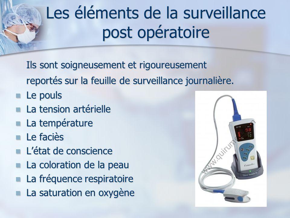 Les éléments de la surveillance post opératoire Ils sont soigneusement et rigoureusement reportés sur la feuille de surveillance journalière. Le pouls