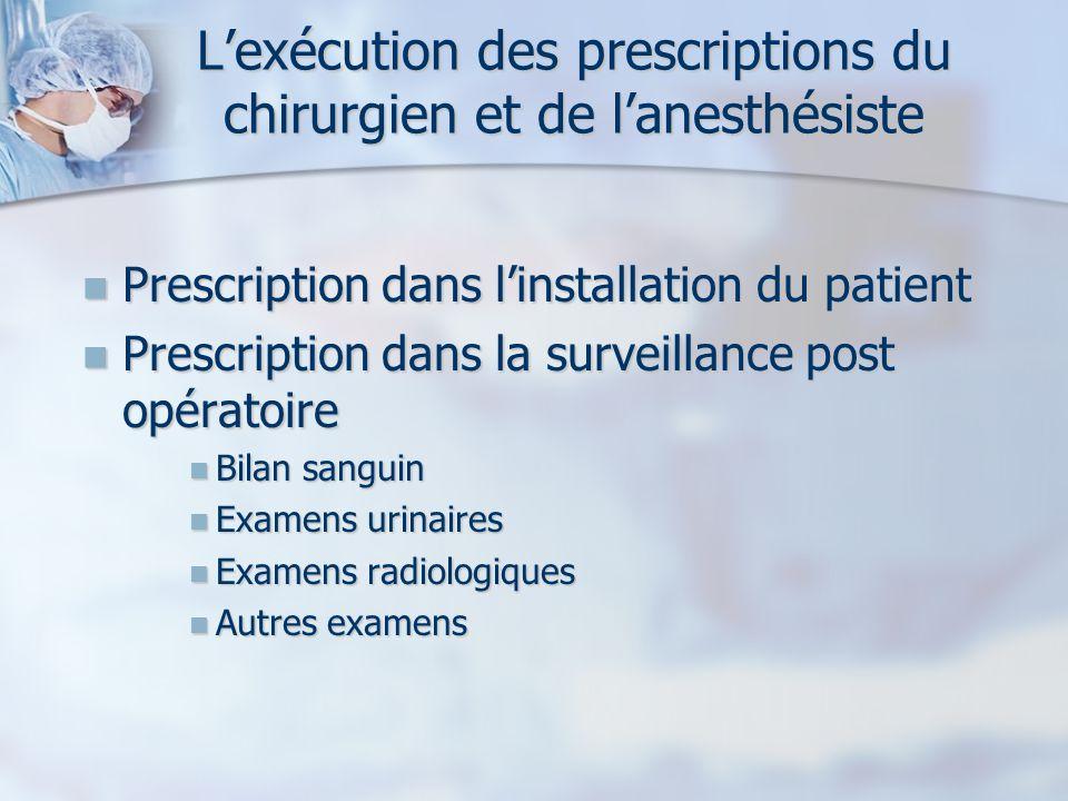 Lexécution des prescriptions du chirurgien et de lanesthésiste Prescription dans linstallation du patient Prescription dans linstallation du patient P