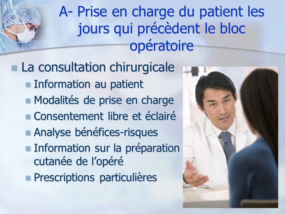A- Prise en charge du patient les jours qui précèdent le bloc opératoire La consultation chirurgicale La consultation chirurgicale Information au pati