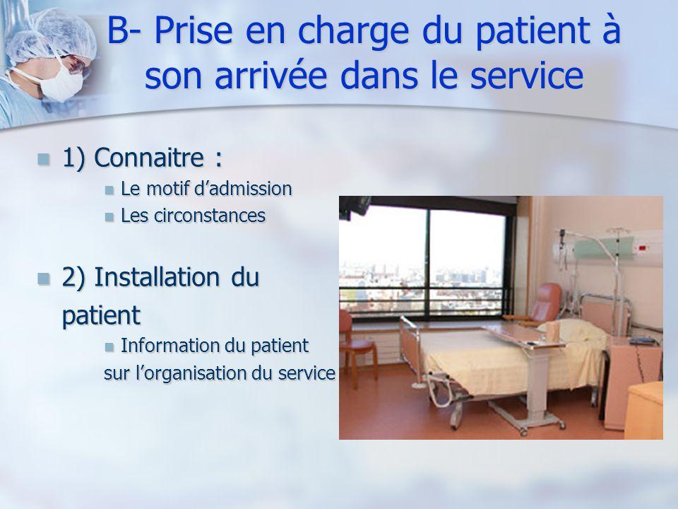 B- Prise en charge du patient à son arrivée dans le service 1) Connaitre : 1) Connaitre : Le motif dadmission Le motif dadmission Les circonstances Le