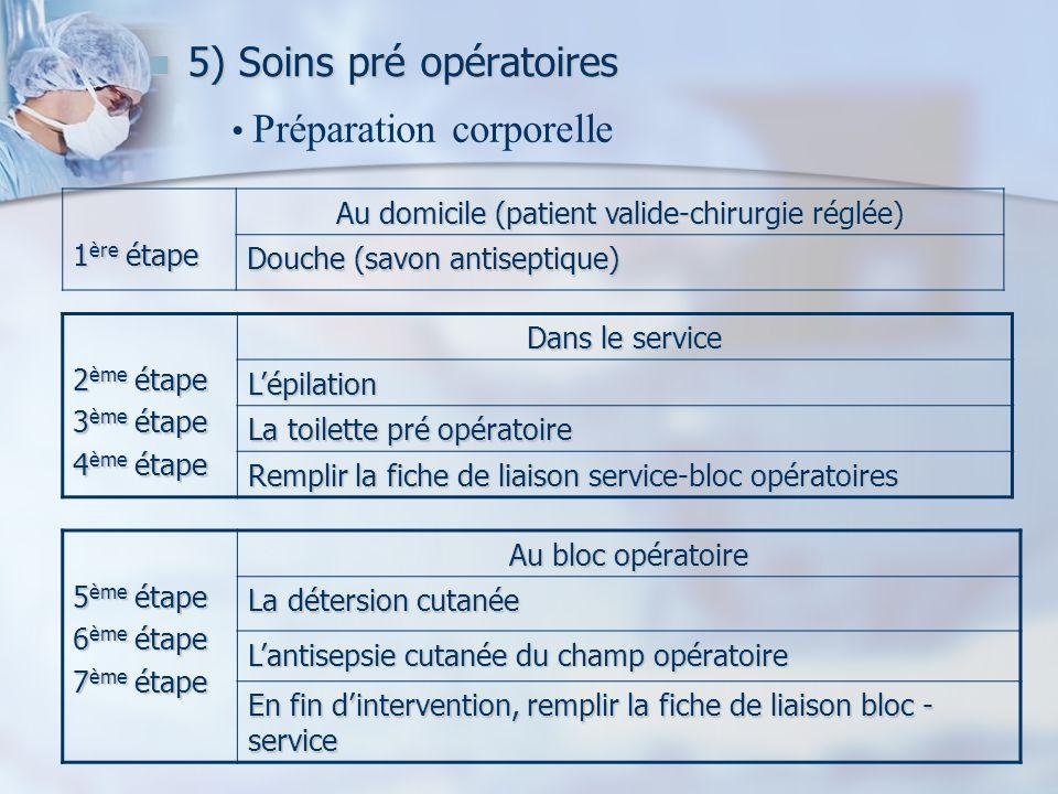 5) Soins pré opératoires 5) Soins pré opératoires 1 ère étape Au domicile (patient valide-chirurgie réglée) Douche (savon antiseptique) Préparation co