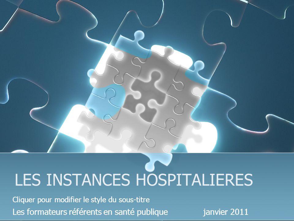 Cliquer pour modifier le style du sous-titre LES INSTANCES HOSPITALIERES Les formateurs référents en santé publique janvier 2011