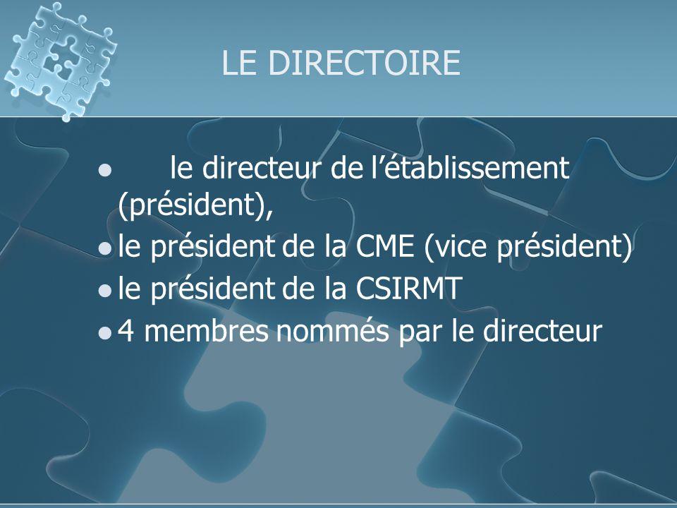 LE DIRECTOIRE le directeur de létablissement (président), le président de la CME (vice président) le président de la CSIRMT 4 membres nommés par le directeur