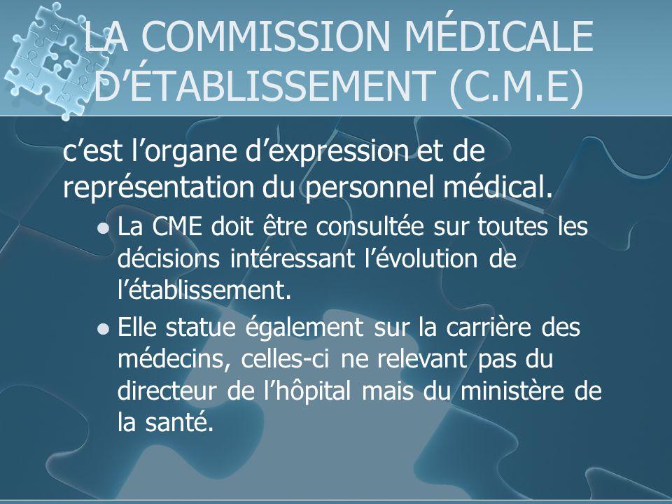 LA COMMISSION MÉDICALE DÉTABLISSEMENT (C.M.E) cest lorgane dexpression et de représentation du personnel médical.
