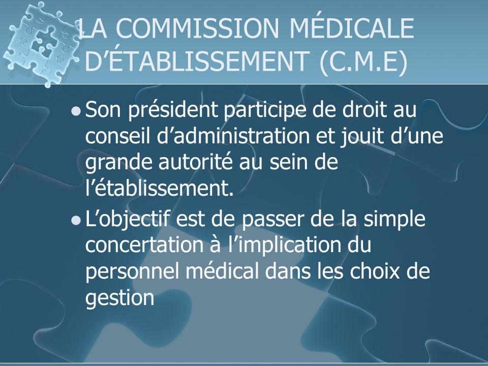 LA COMMISSION MÉDICALE DÉTABLISSEMENT (C.M.E) Son président participe de droit au conseil dadministration et jouit dune grande autorité au sein de létablissement.