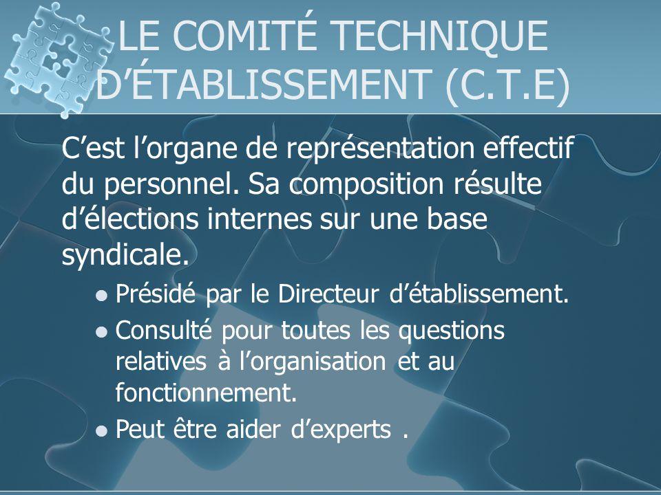 LE COMITÉ TECHNIQUE DÉTABLISSEMENT (C.T.E) Cest lorgane de représentation effectif du personnel.