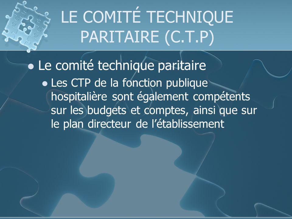 LE COMITÉ TECHNIQUE PARITAIRE (C.T.P) Le comité technique paritaire Les CTP de la fonction publique hospitalière sont également compétents sur les budgets et comptes, ainsi que sur le plan directeur de létablissement