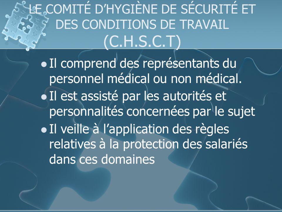 LE COMITÉ DHYGIÈNE DE SÉCURITÉ ET DES CONDITIONS DE TRAVAIL (C.H.S.C.T) Il comprend des représentants du personnel médical ou non médical.