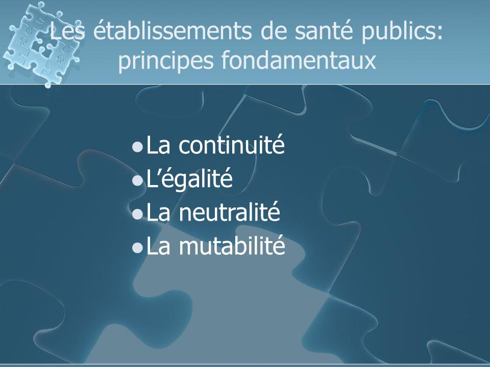 Les établissements de santé publics: principes fondamentaux La continuité Légalité La neutralité La mutabilité