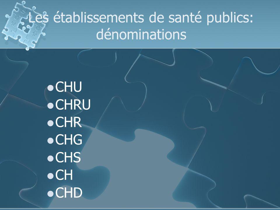 Les établissements de santé publics: dénominations CHU CHRU CHR CHG CHS CH CHD