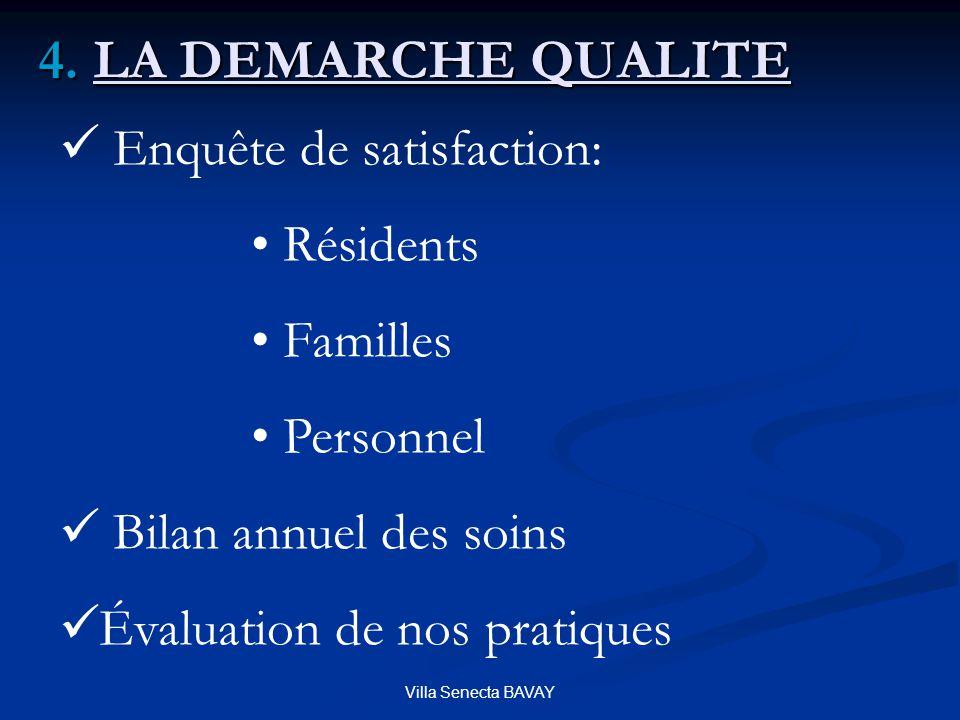 Villa Senecta BAVAY 4. LA DEMARCHE QUALITE Enquête de satisfaction: Résidents Familles Personnel Bilan annuel des soins Évaluation de nos pratiques
