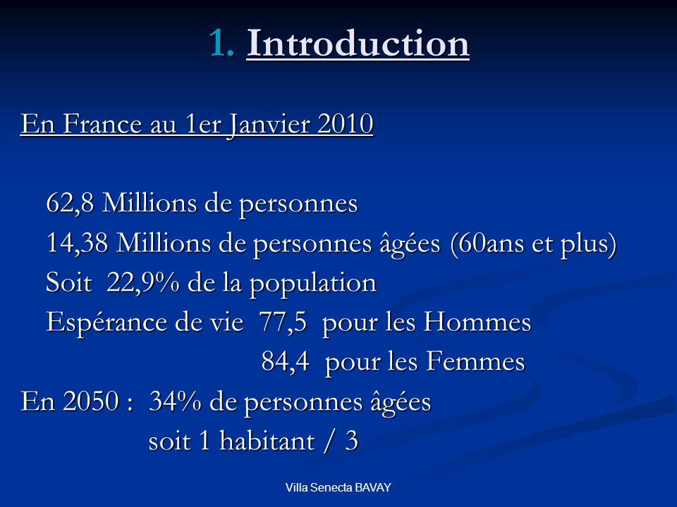 Villa Senecta BAVAY En France au 1er Janvier 2010 62,8 Millions de personnes 14,38 Millions de personnes âgées (60ans et plus) Soit 22,9% de la popula