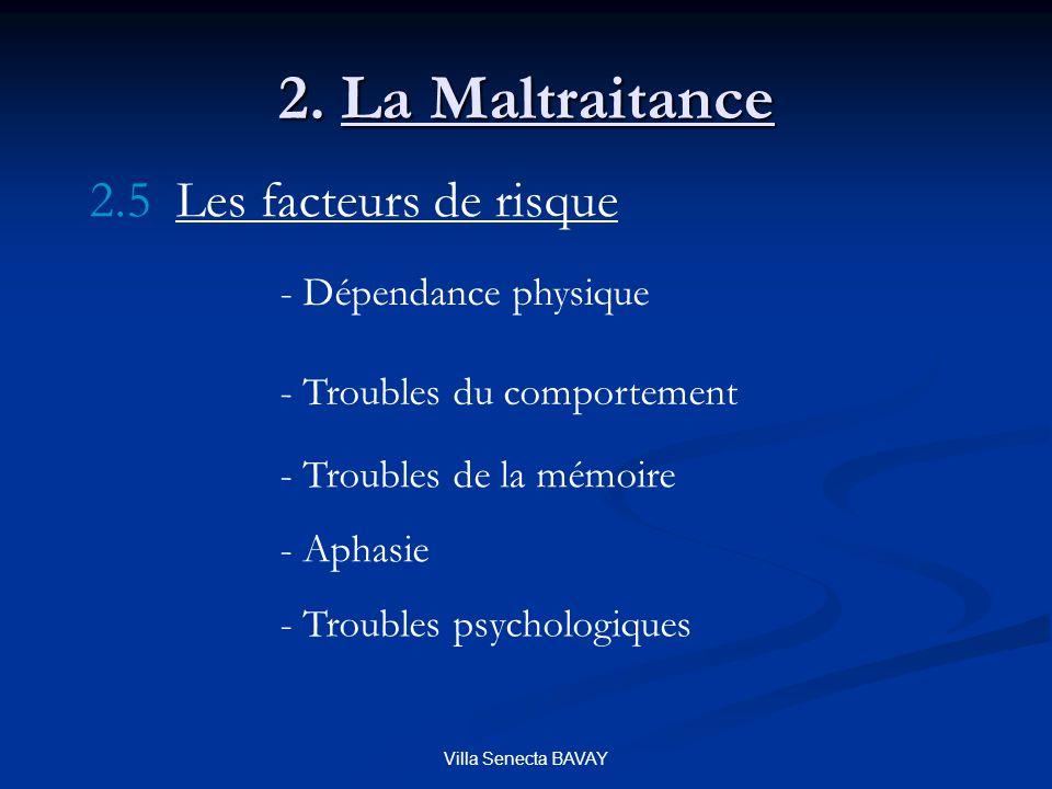 Villa Senecta BAVAY 2. La Maltraitance 2.5 Les facteurs de risque - Dépendance physique - Troubles du comportement - Troubles de la mémoire - Aphasie