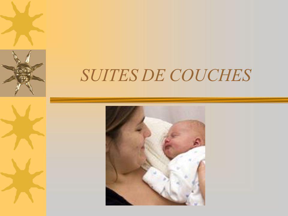 DEFINITION Les suites de couches représentent la période sétendant de laccouchement jusquau retour des premières menstruations normales.