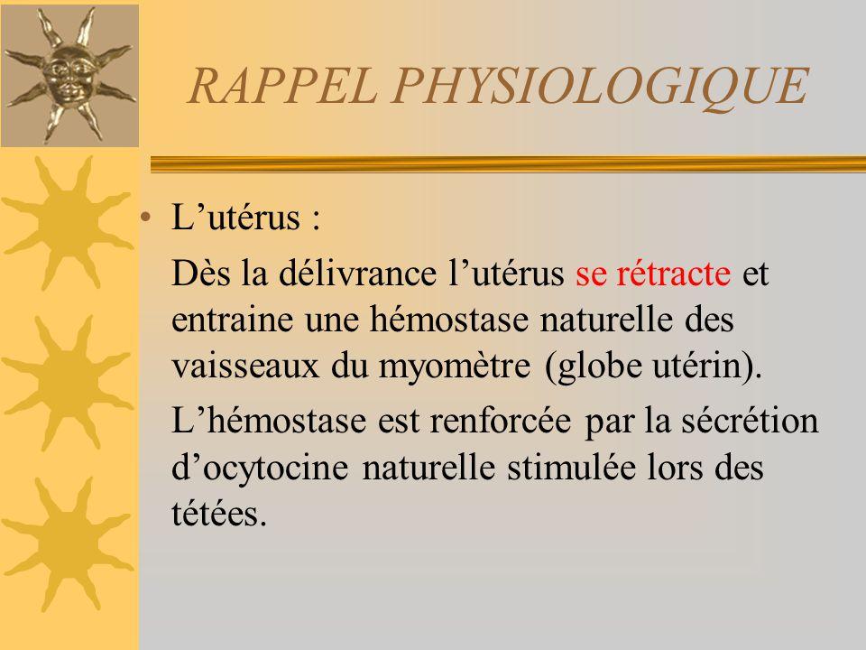 RAPPEL PHYSIOLOGIQUE Lutérus : Dès la délivrance lutérus se rétracte et entraine une hémostase naturelle des vaisseaux du myomètre (globe utérin). Lhé