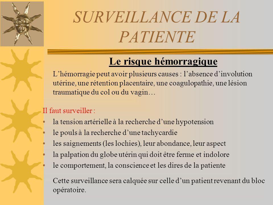 SURVEILLANCE DE LA PATIENTE Le risque hémorragique Lhémorragie peut avoir plusieurs causes : labsence dinvolution utérine, une rétention placentaire,
