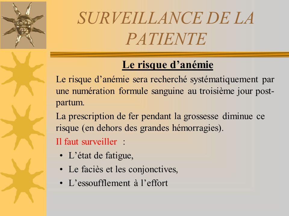 SURVEILLANCE DE LA PATIENTE Le risque danémie Le risque danémie sera recherché systématiquement par une numération formule sanguine au troisième jour