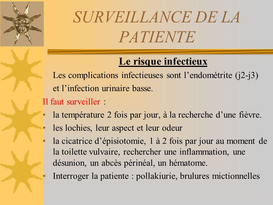 SURVEILLANCE DE LA PATIENTE Le risque infectieux Les complications infectieuses sont lendométrite (j2-j3) et linfection urinaire basse. Il faut survei