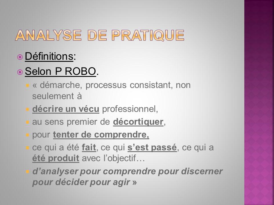 Définitions: Selon P ROBO. « démarche, processus consistant, non seulement à décrire un vécu professionnel, au sens premier de décortiquer, pour tente