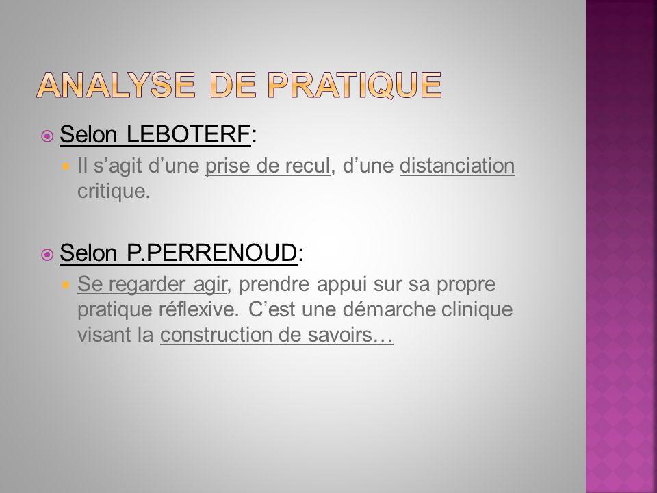 Selon LEBOTERF: Il sagit dune prise de recul, dune distanciation critique. Selon P.PERRENOUD: Se regarder agir, prendre appui sur sa propre pratique r