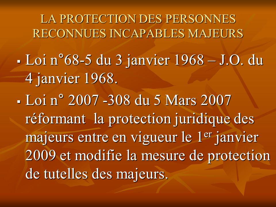 LA PROTECTION DES PERSONNES RECONNUES INCAPABLES MAJEURS Loi n°68-5 du 3 janvier 1968 – J.O. du 4 janvier 1968. Loi n°68-5 du 3 janvier 1968 – J.O. du