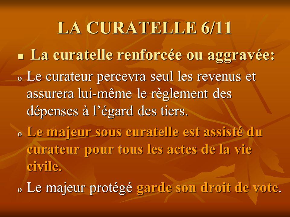 LA CURATELLE 7/11 La curatelle détat: La curatelle détat: o Létat intervient si personne dautre ne peut le faire.