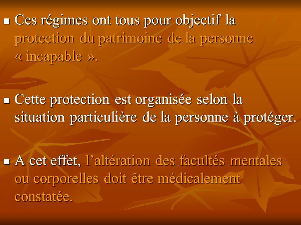 Ces régimes ont tous pour objectif la protection du patrimoine de la personne « incapable ». Ces régimes ont tous pour objectif la protection du patri