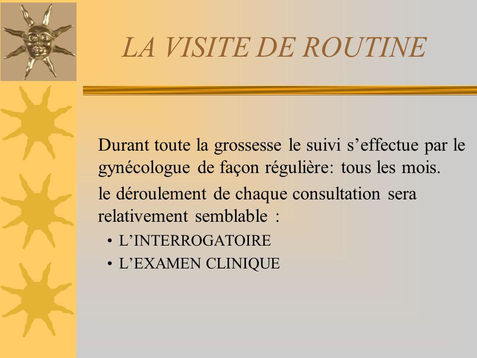 LA VISITE DE ROUTINE Durant toute la grossesse le suivi seffectue par le gynécologue de façon régulière: tous les mois. le déroulement de chaque consu