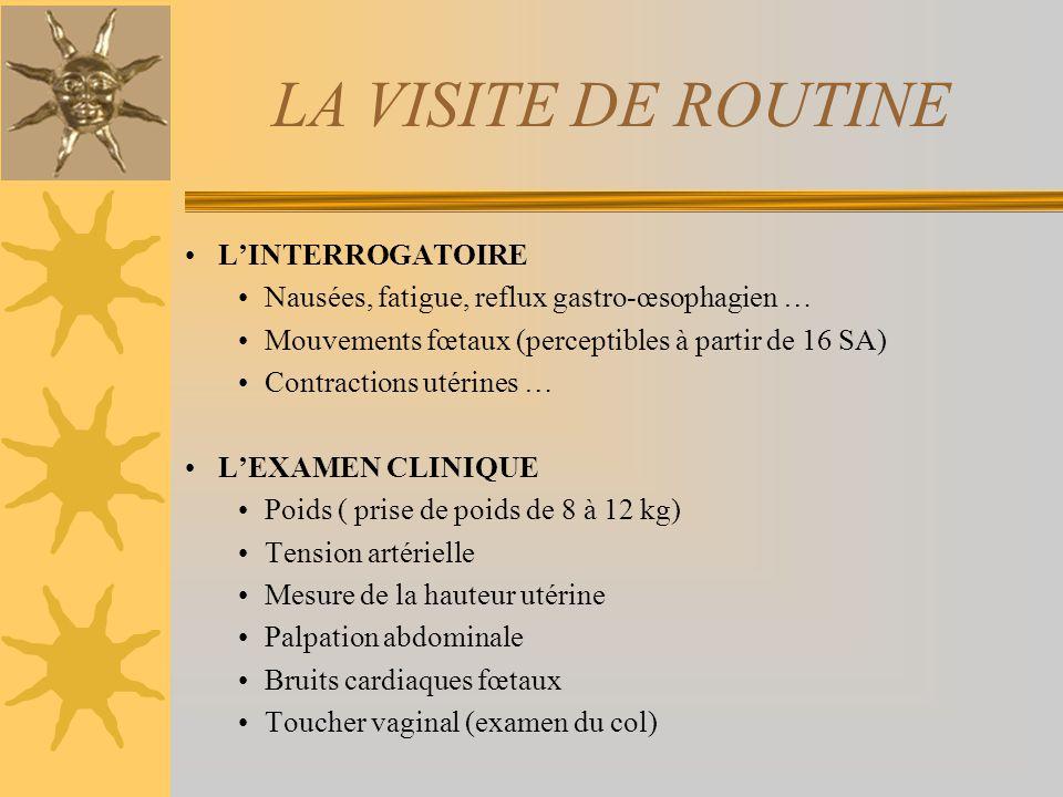 LA VISITE DE ROUTINE LINTERROGATOIRE Nausées, fatigue, reflux gastro-œsophagien … Mouvements fœtaux (perceptibles à partir de 16 SA) Contractions utér