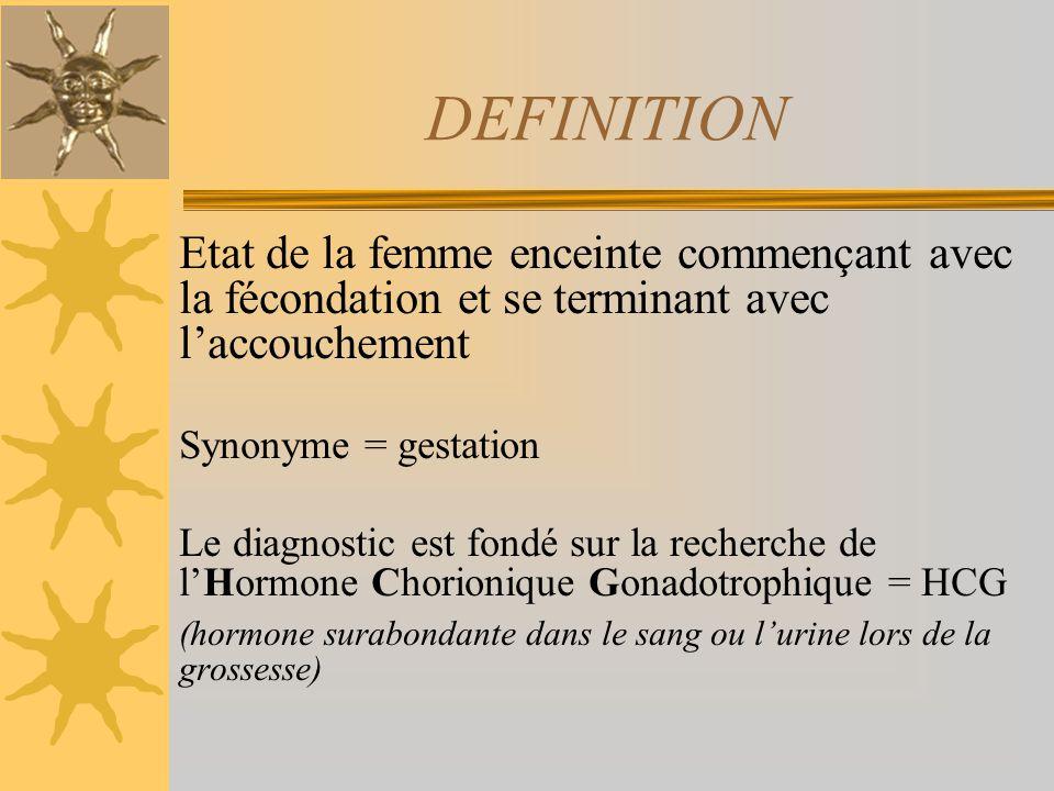 DEFINITION Etat de la femme enceinte commençant avec la fécondation et se terminant avec laccouchement Synonyme = gestation Le diagnostic est fondé su