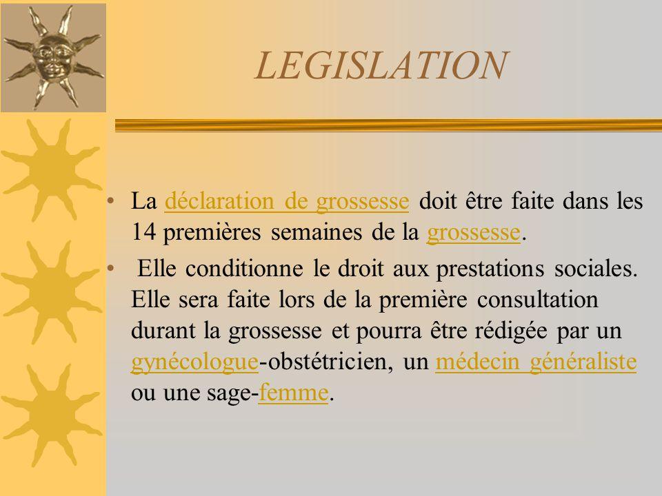 LEGISLATION La déclaration de grossesse doit être faite dans les 14 premières semaines de la grossesse.déclaration de grossessegrossesse Elle conditio
