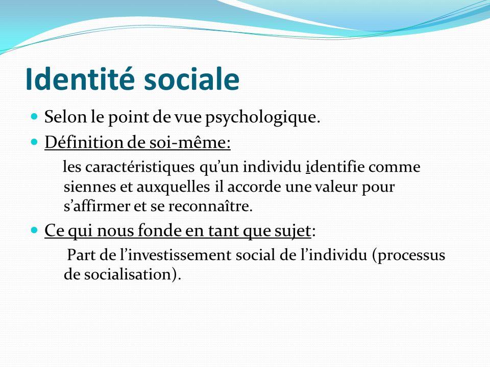 Identité sociale Selon le point de vue psychologique. Définition de soi-même: les caractéristiques quun individu identifie comme siennes et auxquelles