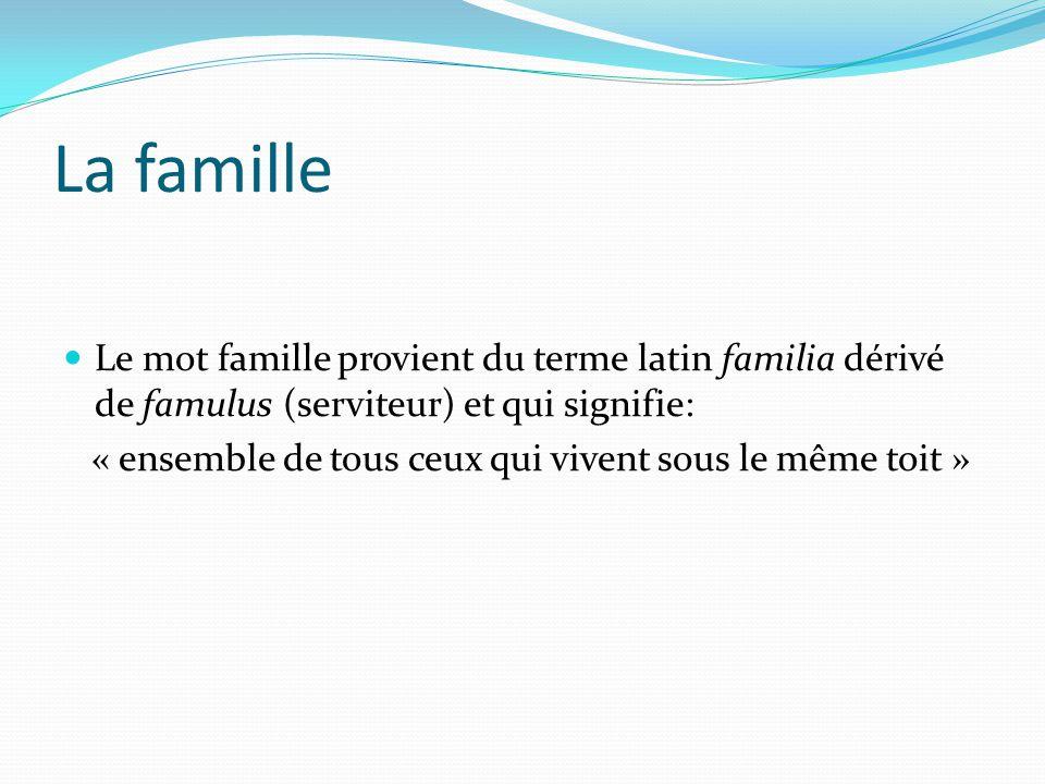 La famille Le mot famille provient du terme latin familia dérivé de famulus (serviteur) et qui signifie: « ensemble de tous ceux qui vivent sous le mê