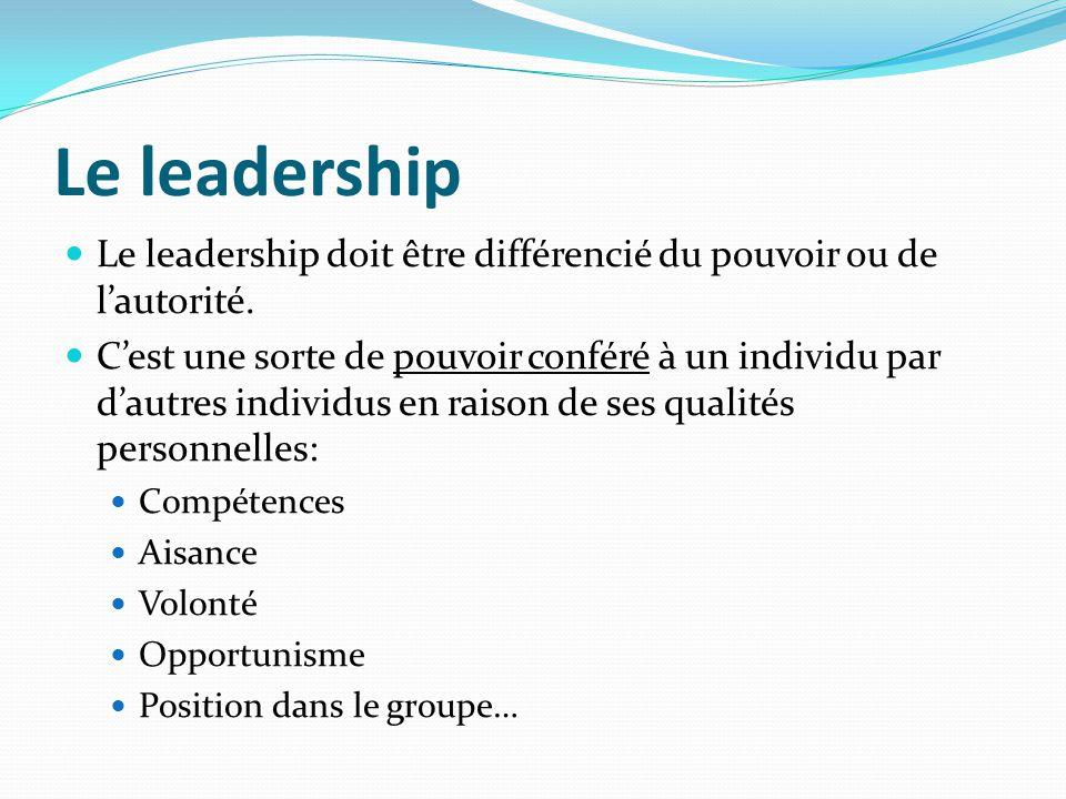 Le leadership Le leadership doit être différencié du pouvoir ou de lautorité. Cest une sorte de pouvoir conféré à un individu par dautres individus en