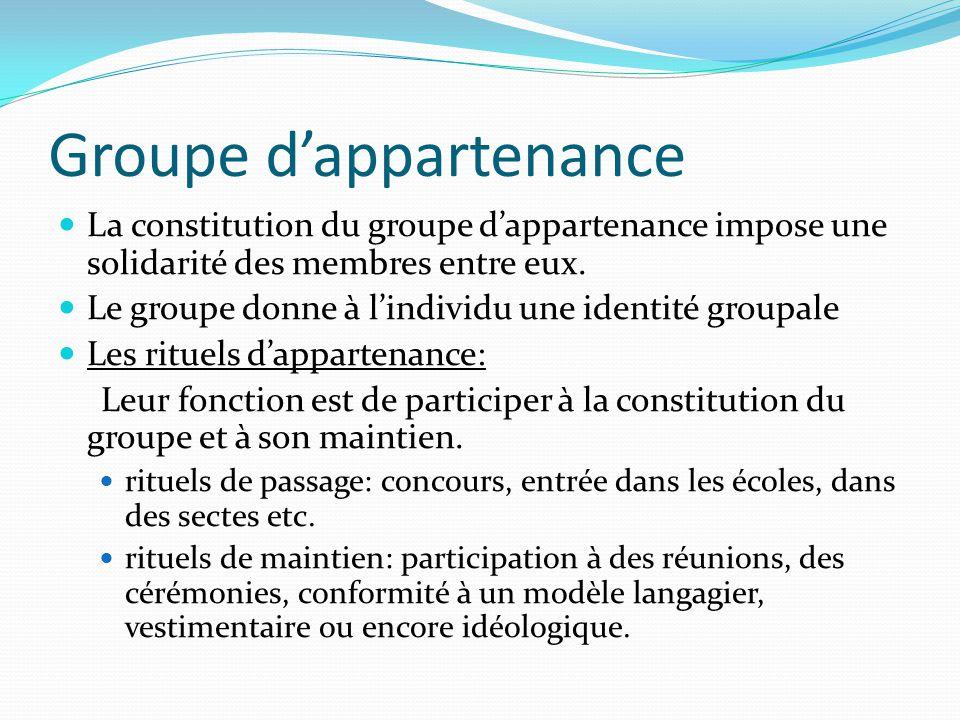 Groupe dappartenance La constitution du groupe dappartenance impose une solidarité des membres entre eux. Le groupe donne à lindividu une identité gro