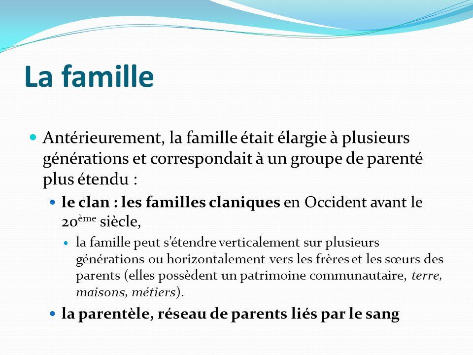 La famille Antérieurement, la famille était élargie à plusieurs générations et correspondait à un groupe de parenté plus étendu : le clan : les famill