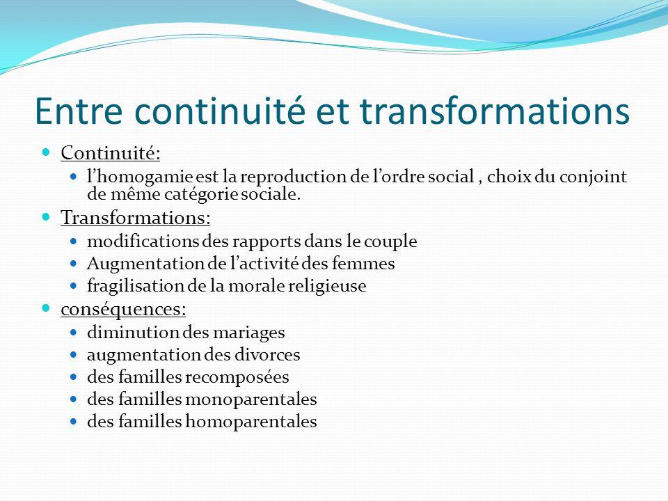Entre continuité et transformations Continuité: lhomogamie est la reproduction de lordre social, choix du conjoint de même catégorie sociale. Transfor