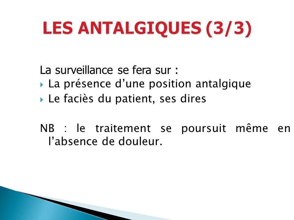 La surveillance se fera sur : La présence dune position antalgique Le faciès du patient, ses dires NB : le traitement se poursuit même en labsence de
